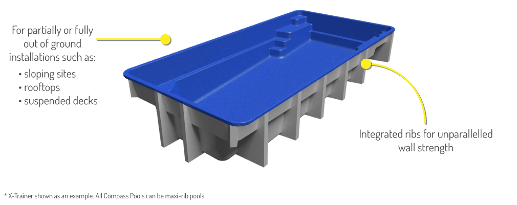 an Above Ground Fibreglass Pool X-Trainer with Maxi Rib