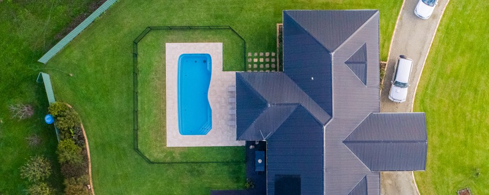 Landscaping with the swimming pool in the middle