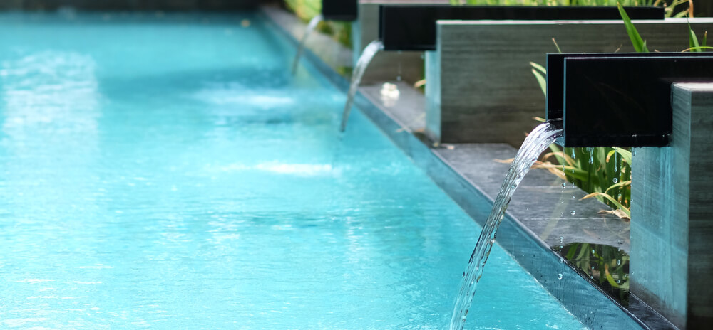 Composite Pool Solutions Waterfall is a very popular pool water feature
